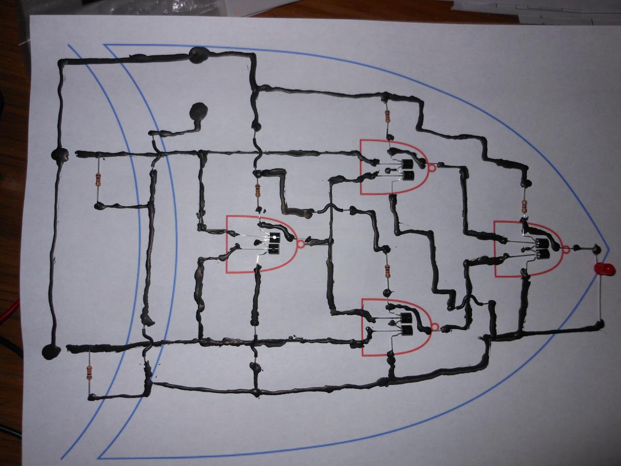 Michael Kohn Conductive Paint Xor Gate Diagram From Transistors With