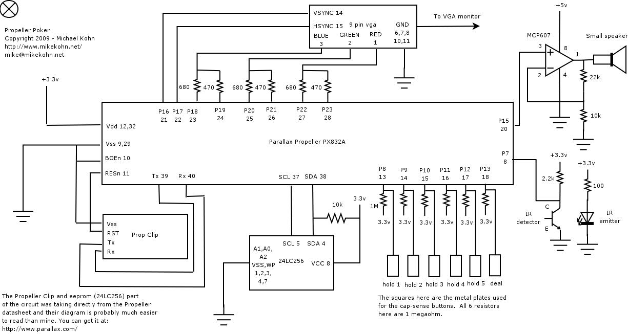 Parallax Propeller Poker schematic