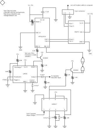 Tape data recorder circuit